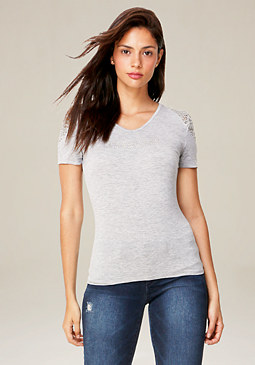 bebe Heathered Lace Trim Top