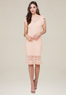 Lace Ruffle Trim Midi Dress