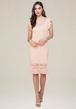bebe Lace Ruffle Trim Midi Dress