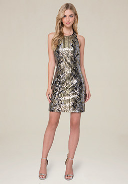 bebe Krysta Sequin Python Dress