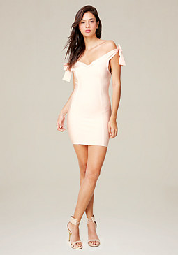 bebe Tie Shoulder Banded Dress