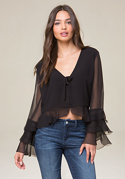 bebe Tie Neck Deep V Top