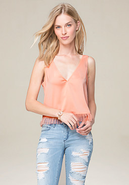 bebe Tulle Ruffle V-Neck Top