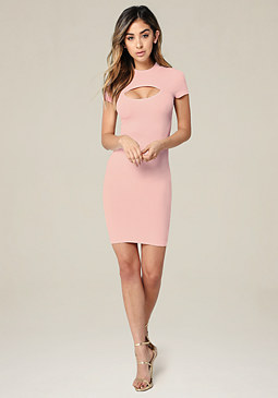 bebe Ribbed Keyhole Dress