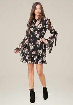 bebe Ribbon Tie Dress