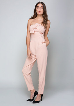 bebe Bow Trim Strapless Jumpsuit