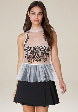 bebe Tulle & Soutache Peplum Top