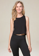 bebe Slit Back Muscle Crop Tank