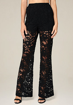 bebe Lace Wide Leg Trousers