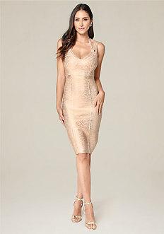 3-Strap Foil Knit Dress