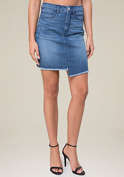 bebe Frayed Denim Miniskirt