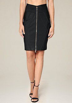 Front Zip Banded Skirt
