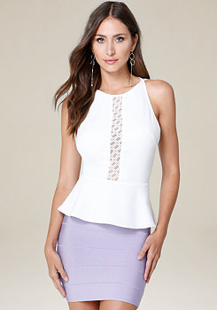 bebe Embroidered Mesh Peplum Top