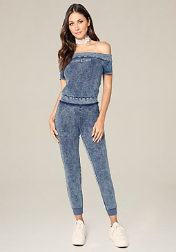 bebe Logo Denim Knit Jumpsuit