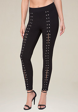 bebe Extreme Lace Up Leggings