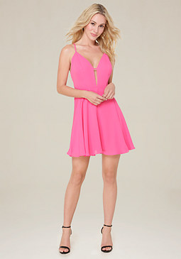 bebe Lily Crossback Skater Dress