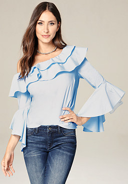 bebe Ruffled One Shoulder Top