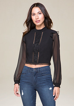 bebe Lace Inset Blouse