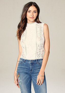 bebe Lace Sleeveless Top