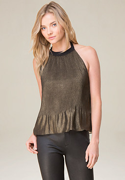 bebe Pleated Halter Top