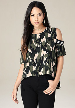 bebe Camo Cold Shoulder Top