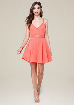 bebe Lace Trim Flared Dress
