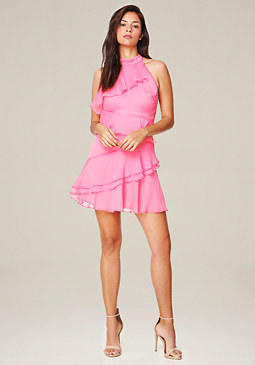 bebe Ruffled Fit & Flare Dress