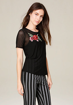 bebe Flower Patch Mesh Tee