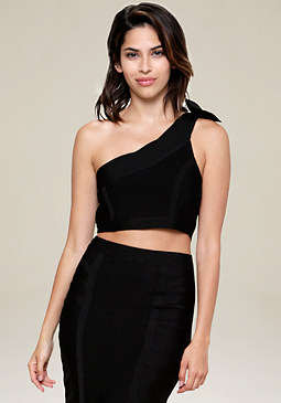 bebe Bow One Shoulder Crop Top