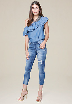bebe Chambray One Shoulder Top