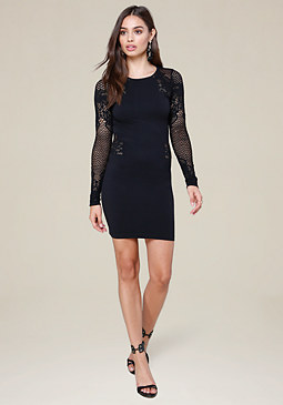 bebe Lace Crewneck Dress