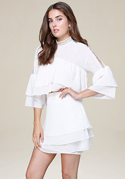 bebe Double Ruffle Mock Neck Top