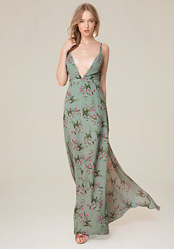 bebe Print Crossback Gown