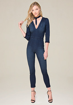 bebe Tie Neck Denim Jumpsuit