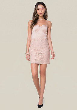 bebe Satin & Lace Dress