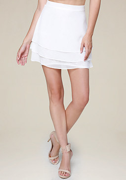 bebe Lace Block Tiered Miniskirt