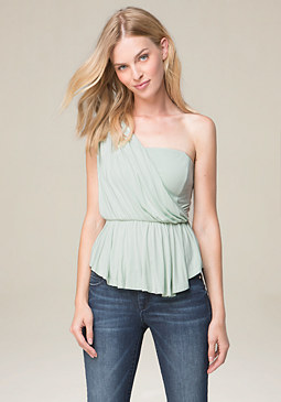 bebe Shirred One Shoulder Top