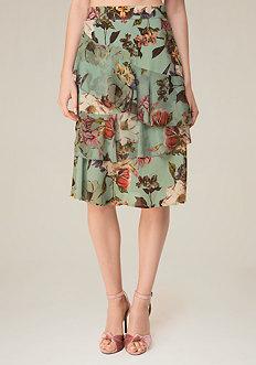 Print Wrap Ruffle Skirt