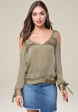 bebe Cold Shoulder Open Back Top