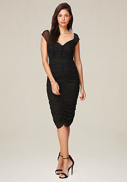 bebe Mesh Cap Sleeve Dress
