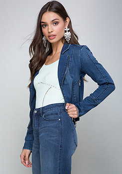 bebe Denim Moto Jacket