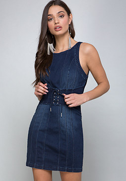 bebe Denim Corset Dress