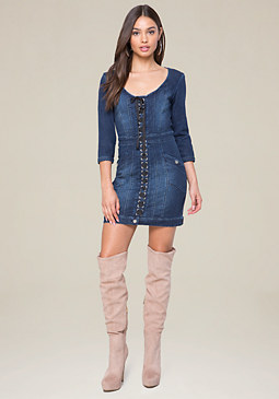 bebe Denim Pencil Dress