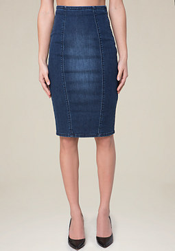 bebe Denim Lace Up Pencil Skirt