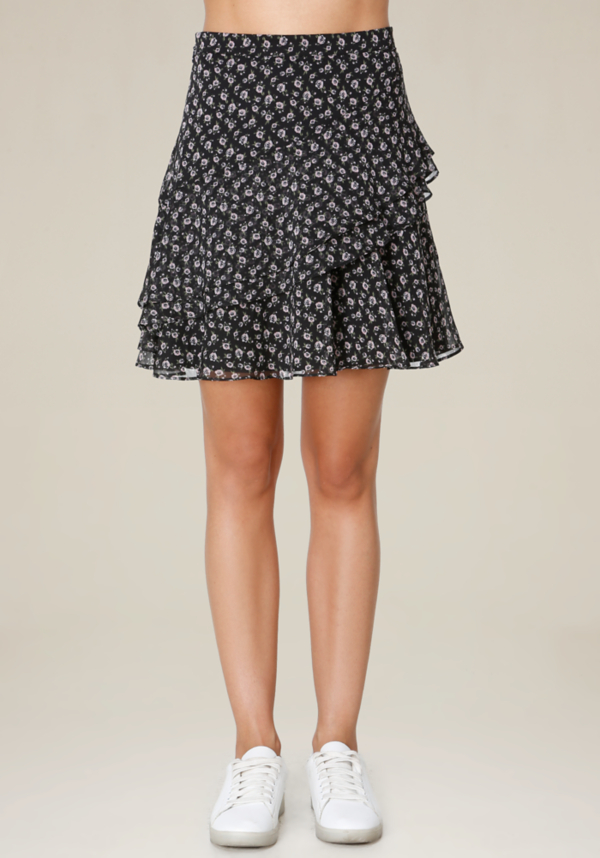 Print Ruffled A-Line Skirt at bebe in Sherman Oaks, CA | Tuggl