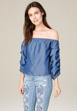 bebe Chambray Off Shoulder Top