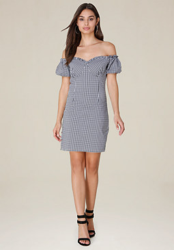 bebe Gingham Off Shoulder Dress