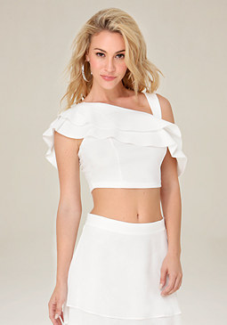 bebe Techno Ruffle Crop Top
