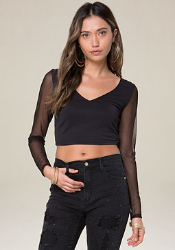 bebe Twist Open Back Crop Top