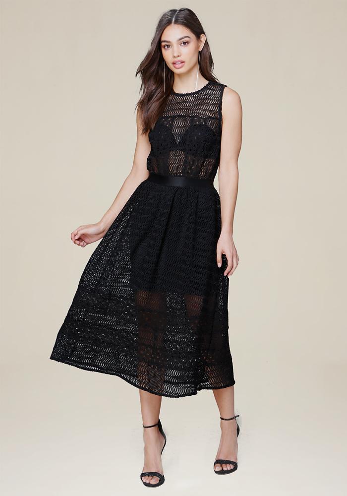 Black lace mini dress with long sleeve coat
